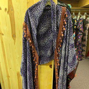 Purple Leopard Print Shawl